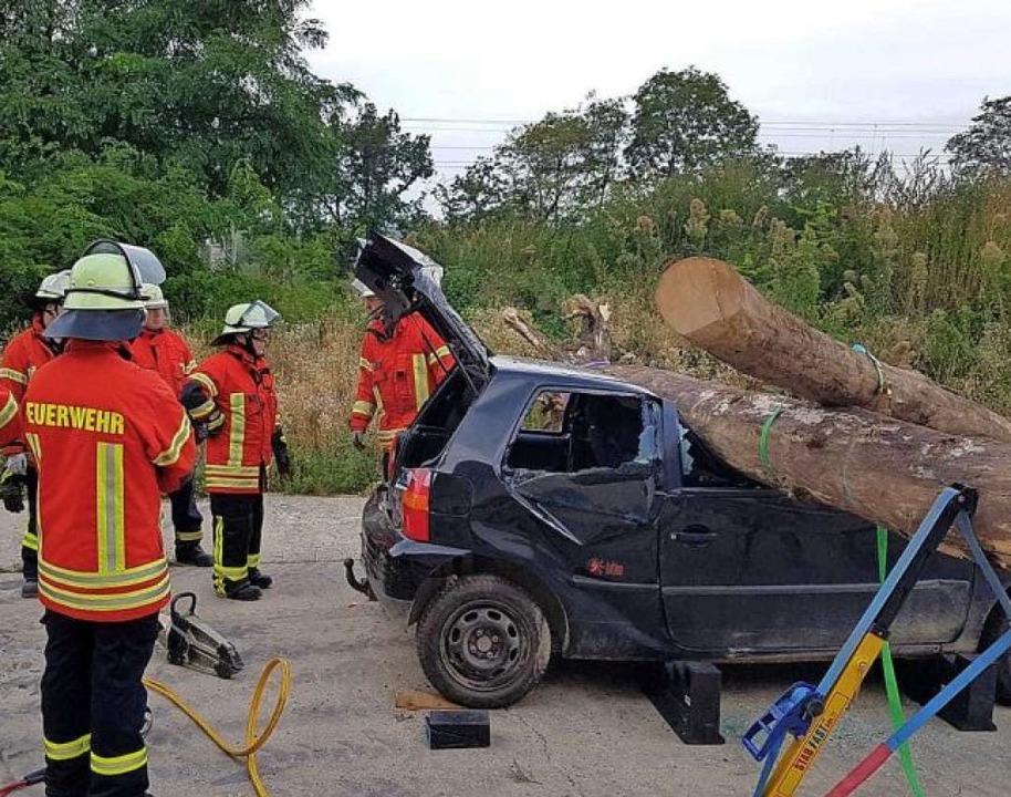 Realistische Übung: Die Einsatzkräfte ... unter Bäumen begrabenes Auto bergen.     Foto: Feuerwehr Efringen-Kirchen