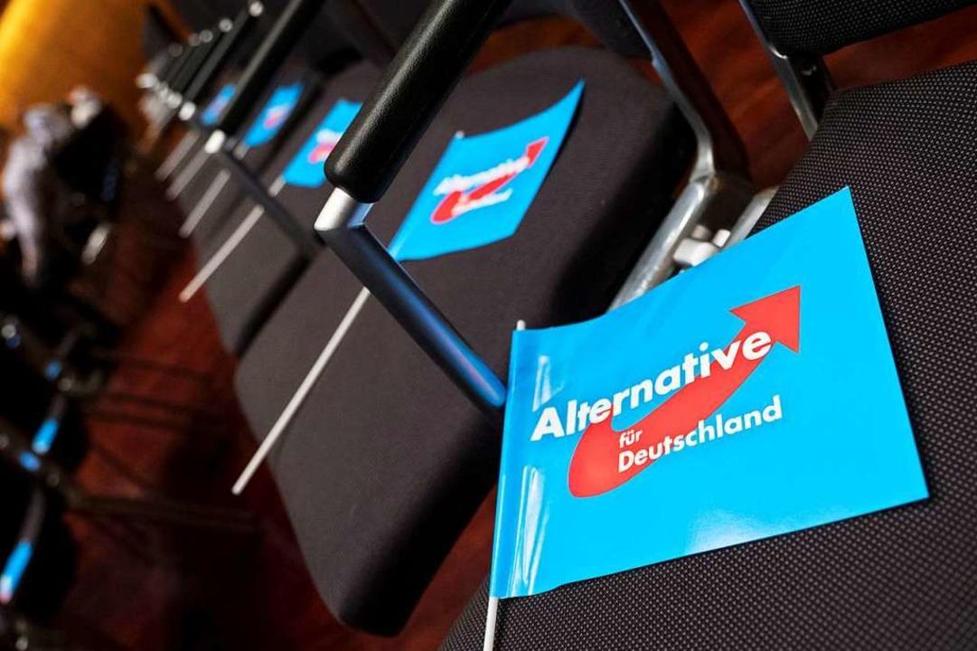 Fahnen der AfD bei einer Wahlkampfveranstaltung in Braunschweig (Symbolbild)  | Foto: Peter Steffen (dpa)