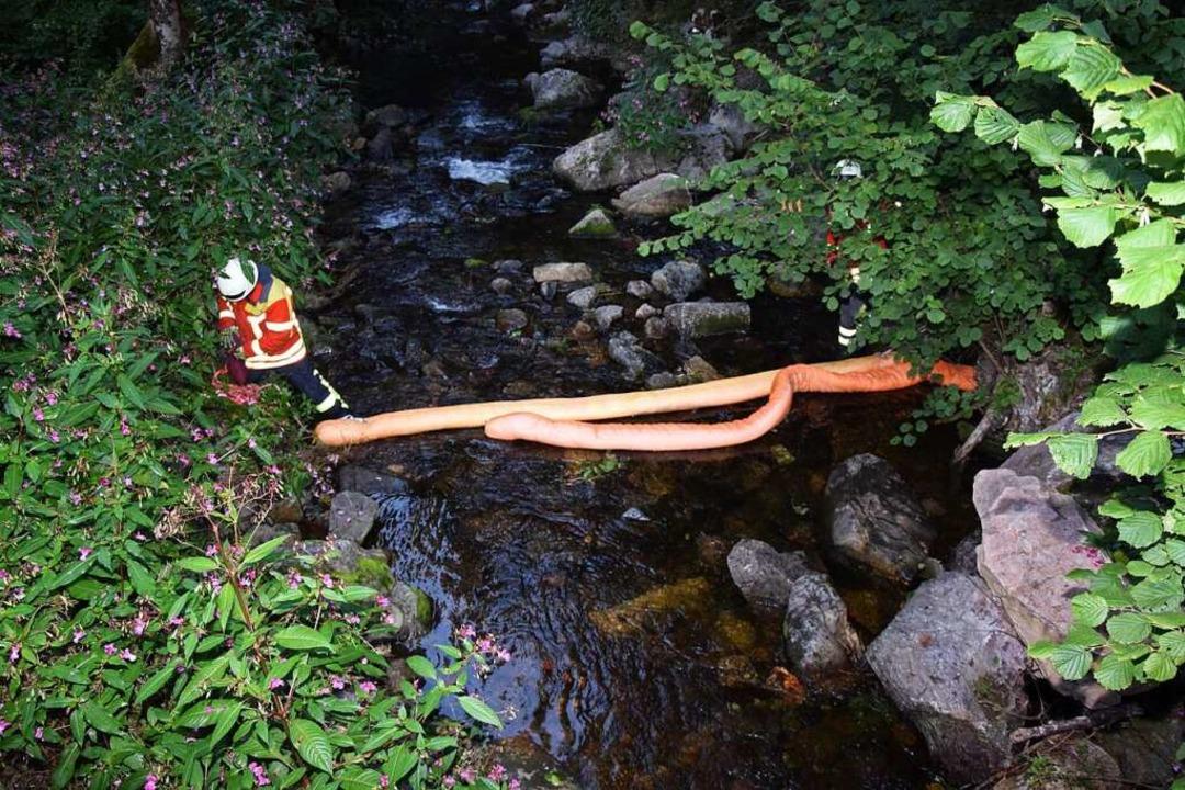 Die Feuerwehr richtet eine Ölsperre ein.    Foto: kamera24.tv