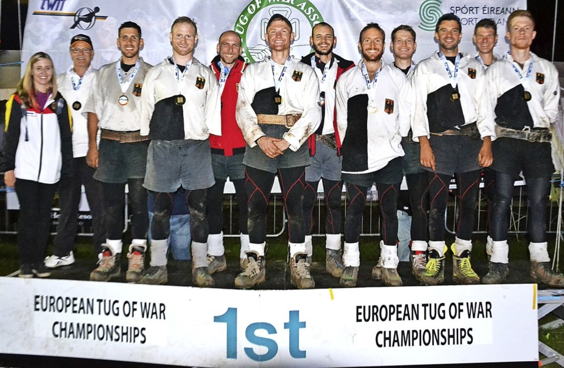 Die deutsche Nationalmannschaft mit Ta..., Raphael Stratz und Sascha Deck mit.     Foto: Verein