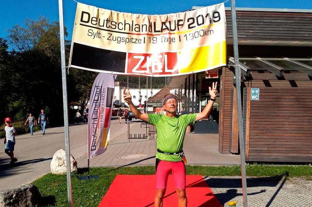 Andreas Amann im Ziel in Garmisch-Partenkirchen.    Foto: Privat