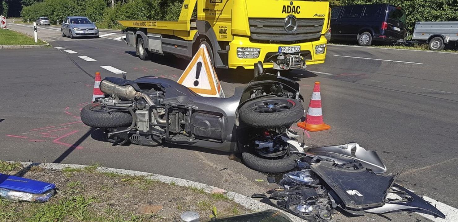 Glück im Unglück hatte der Fahrer dieses Motorrads bei Schluchsee.   | Foto: Kamera24