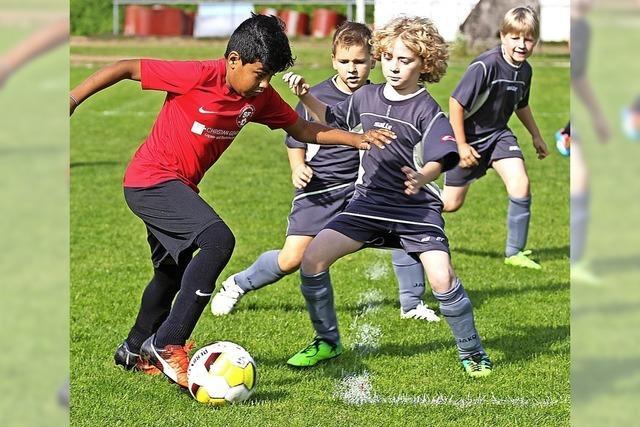 Junge Fußballer im Pokalfieber