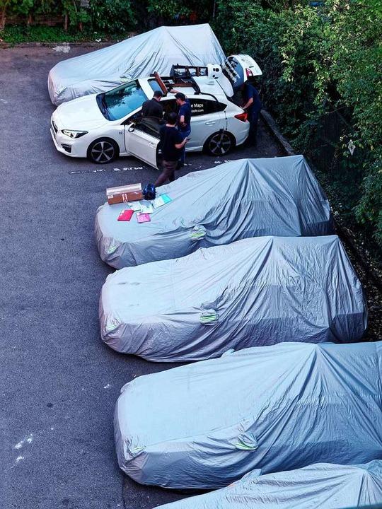 Sieben Kamerafahrzeuge hat Thomas Dix auf einem Hotelparkplatz entdeckt.  | Foto: Thomas Dix