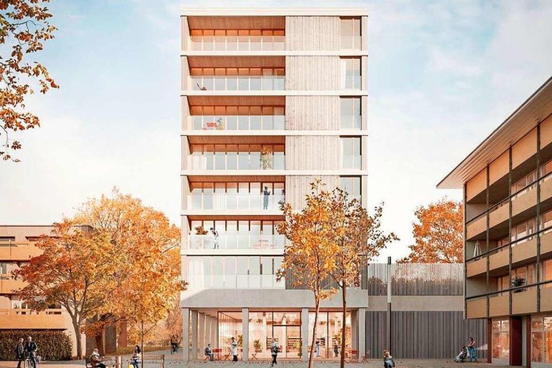 So soll das Holzgebäude aussehen, wenn es im Mai 2021 fertig ist.   | Foto: Sutter3KG