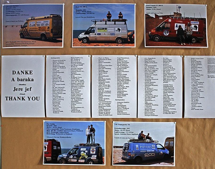 Eine Schautafel von der Ausstellung: D...Serrekunda, mit der Liste der Spender.  | Foto: Karin Heiß