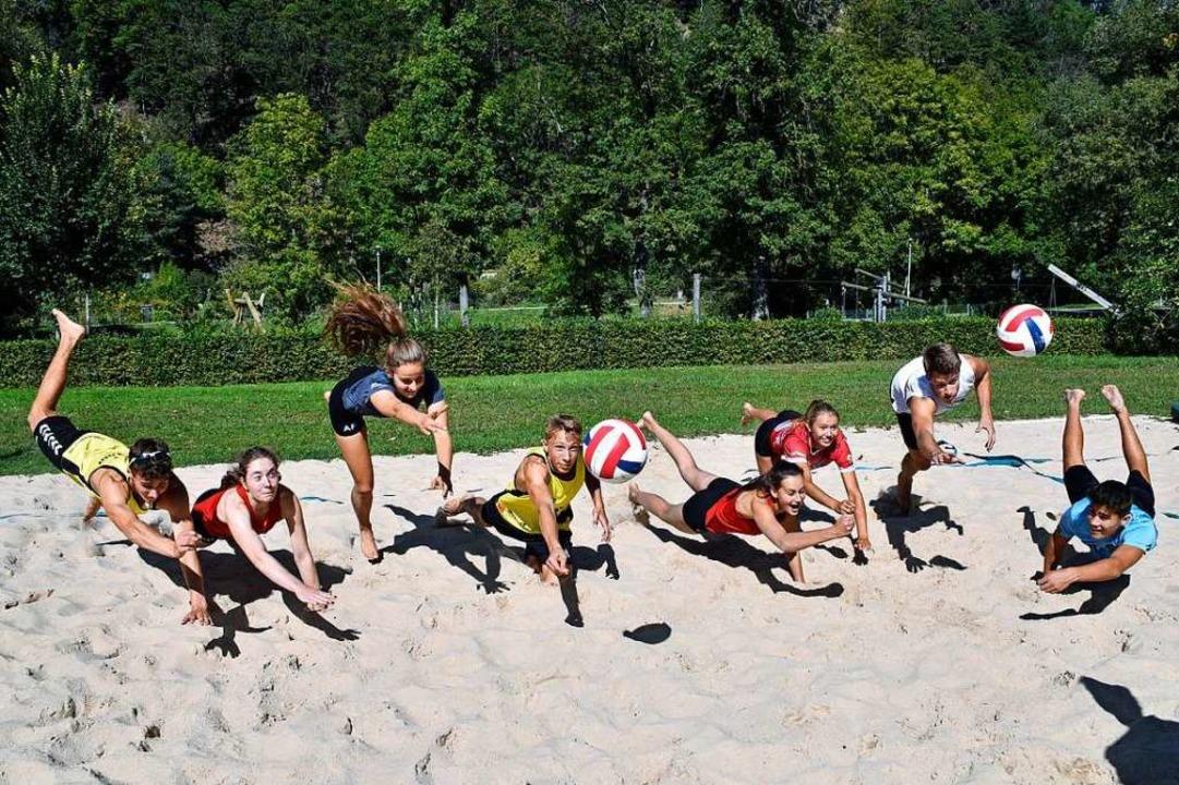 Beim letzten Training für Berlin: die ...d Volleyballer des Berthold-Gymnasiums    Foto: Thomas Kunz