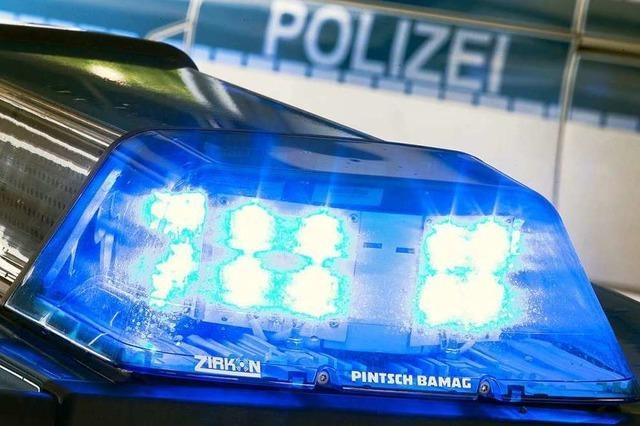 Holzanhänger kippt in Kreisel in Maulburg um