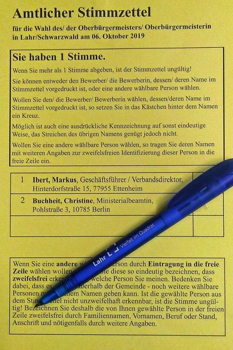 Auf dem neuen Stimmzettel für den zwei...n Markus Ibert und Christine Buchheit.  | Foto: Stadt