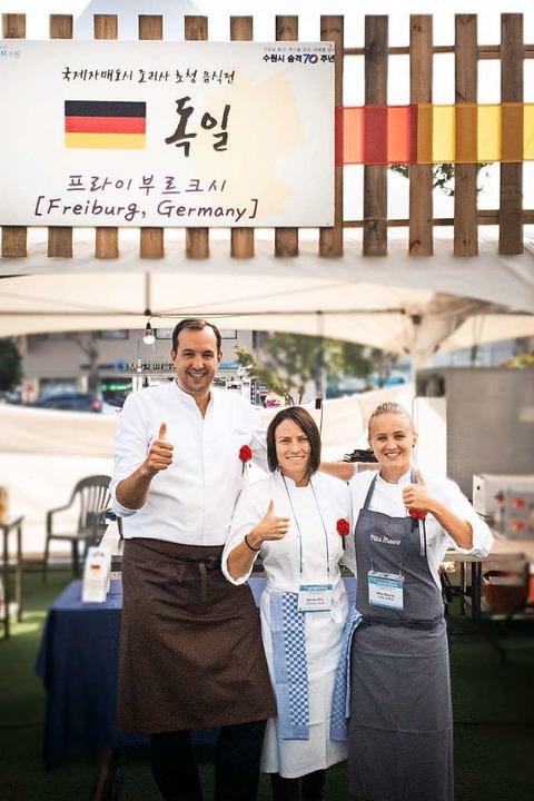 Tischen bei der Foodmesse in der Partn...attler, Sabrina Binz und Mira Maurer.   | Foto: Privat