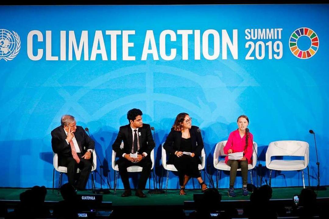 Thunbergs wütende Rede beim UN-Klimagipfel dominierte die Schlagzeilen.  | Foto: Jason Decrow (dpa)