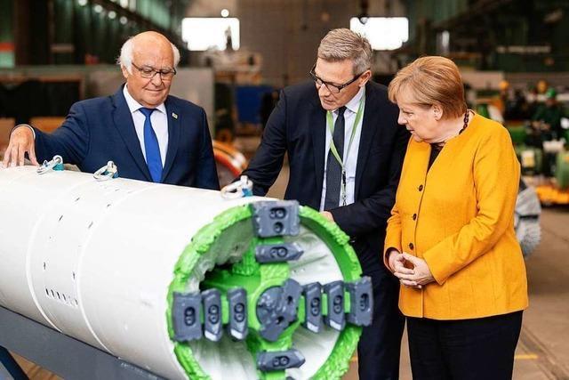 Angela Merkel auf Stippvisite bei Martin Herrenknecht
