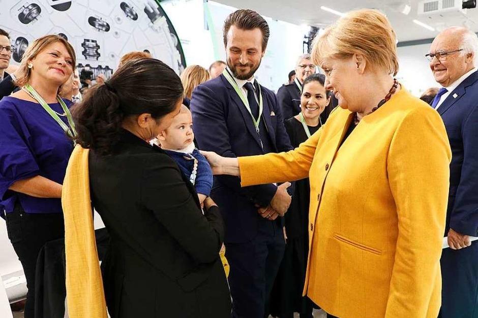 Bundeskanzlerin Angela Merkel hat das Unternehmen von Martin Herrenknecht in Schwanau besucht. (Foto: Christoph Breithaupt)