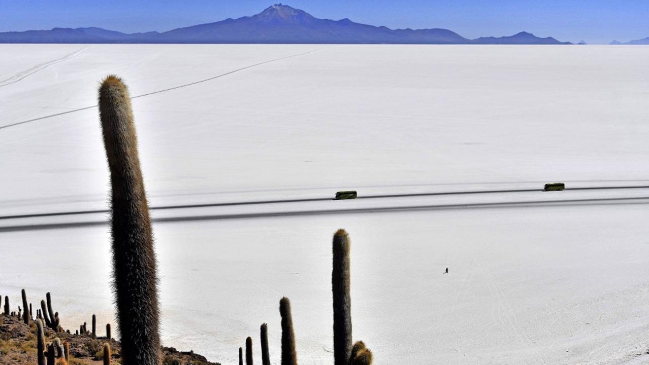 Der Salar der Uyuni, der größte Salzse...ine Fläche von  536 Quadratkilometern.  | Foto: AIZAR RALDES (AFP)