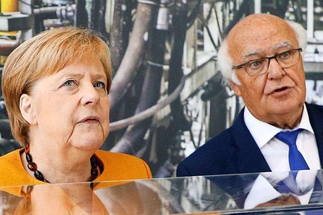 Angela Merkel und ihr Parteifreund Herrenknecht vertragen sich wieder