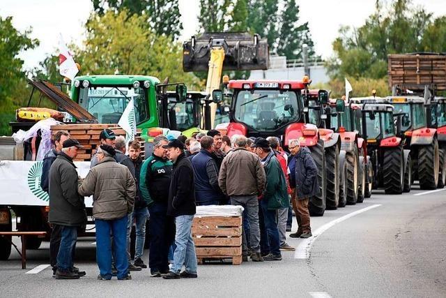 Landwirte blockieren den Grenzverkehr vom und ins Elsass