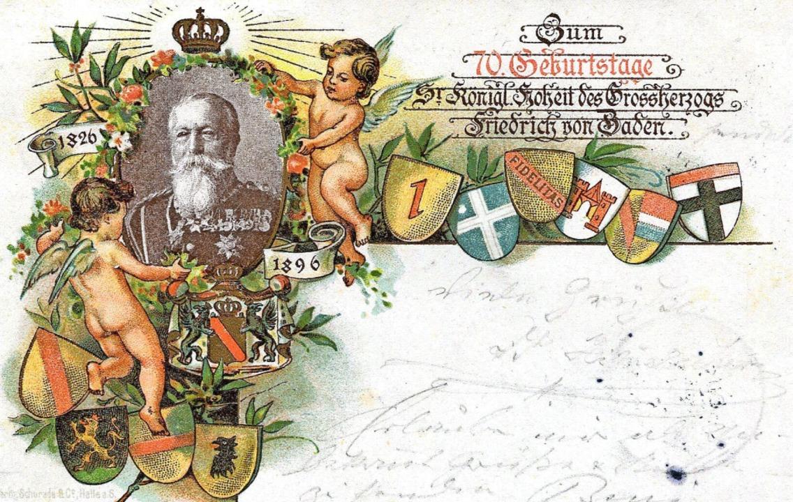 Karte zum 70. Geburtstag des Großherzogs von Baden, 1896  | Foto: privat