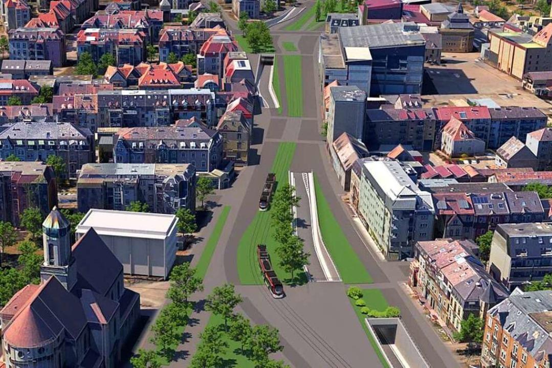 So könnten die Zu- und Abfahrten in de...n Höhe der Maria-Hilf-Kirche aussehen.  | Foto: Animation: RP Freiburg