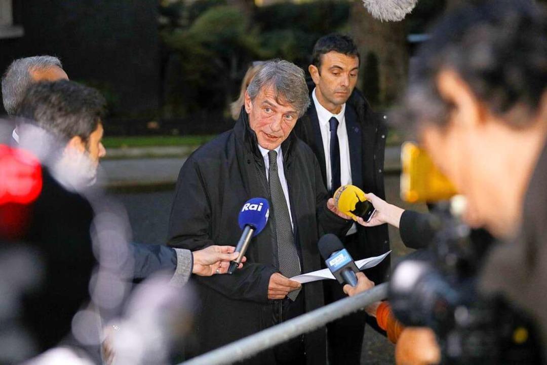 Der Präsident des Europäischen Parlame...i, spricht in London mit Journalisten.  | Foto: Aaron Chown (dpa)
