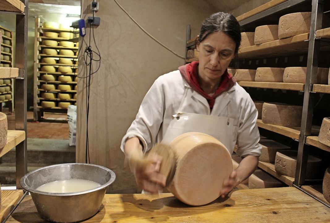 Silvia Nuack ist Mitarbeiterin in der ...stet sie den Käse mit Salzwasser ein.   | Foto: suedkurier