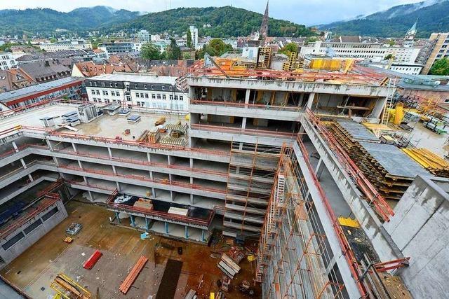 So sieht es auf dem Rohbau des neuen Volksbank-Turms aus