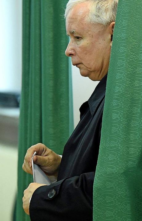Jaroslaw Kaczynski bei der Wahl im  Mai  2015   | Foto: Radek Pietruszka