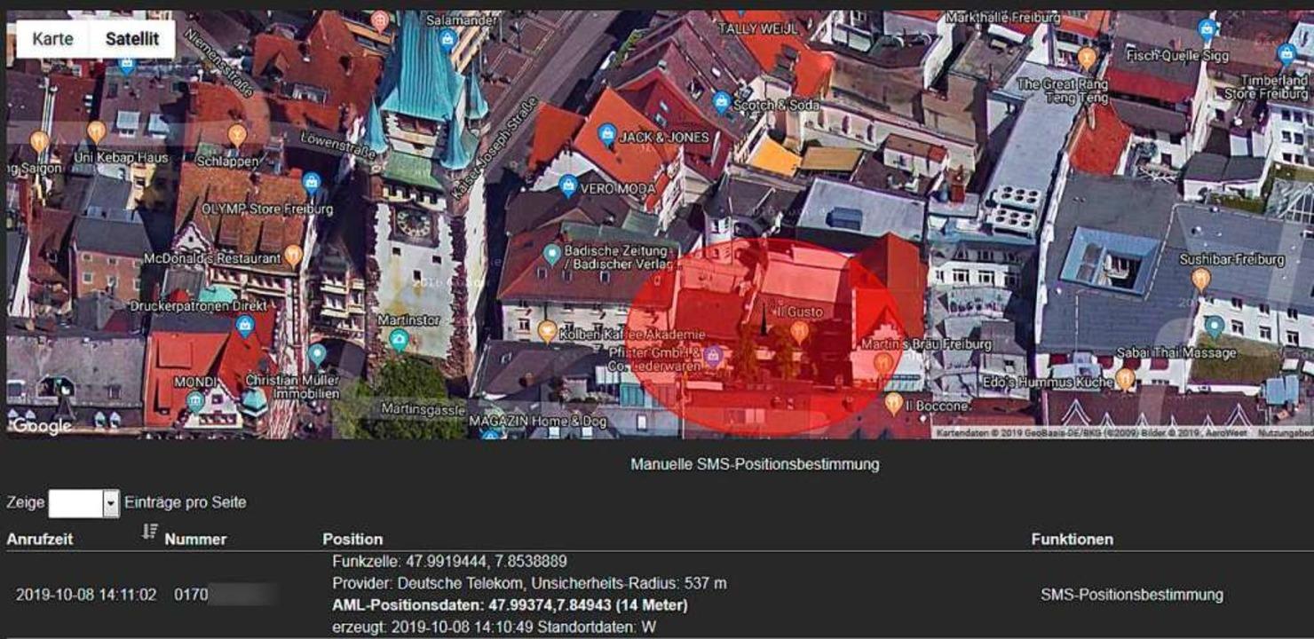 Ein Testanruf mit dem Smartphone aus d...ue Lokalisierungstechnik AML arbeitet.  | Foto: Screenshot