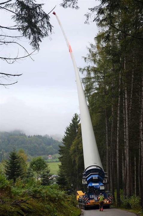 Das Rotorblatt fährt am Wald entlang.  | Foto: Nikolaus Bayer
