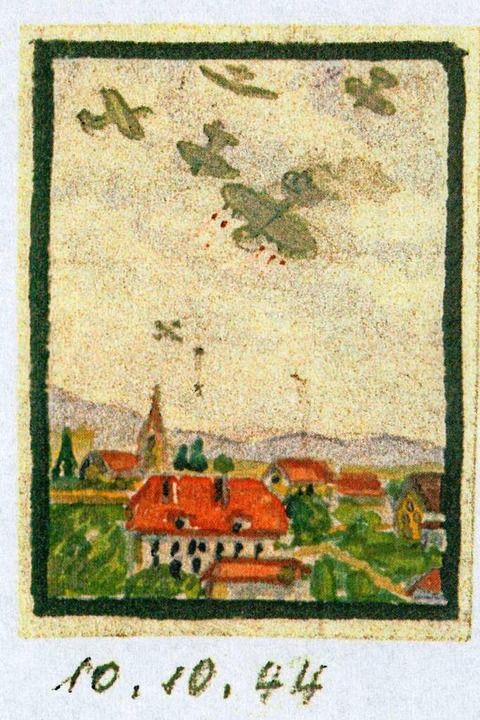 10. Oktober 1944: britische  Jagdflieg...uge, gemalt von Augenzeuge Karl Elsner  | Foto: privat