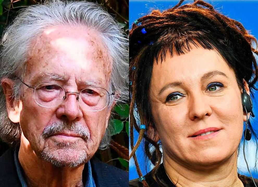 Peter Handke und Olga Tokarczuk  | Foto: Herbert Neubauer (dpa), Alain Jocard (afp)