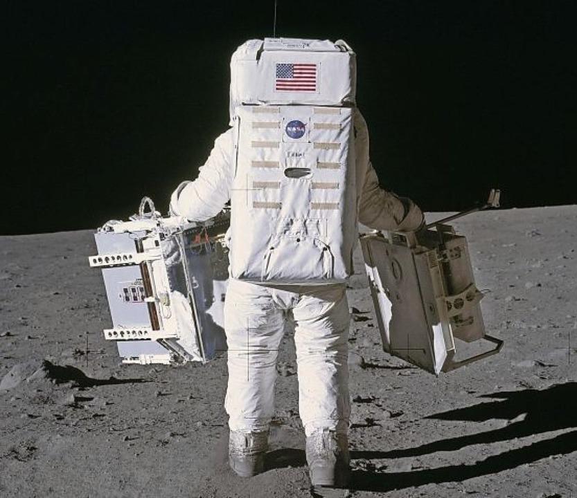 Buzz Aldrin, zweiter Mann auf dem Mond...em heute noch Messungen möglich sind.     Foto: Nasa