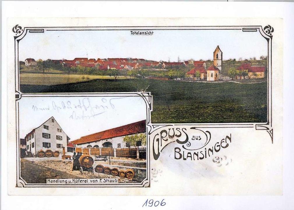 Die Postkarte von 1906 zeigt auch das Weingut.  | Foto: privat