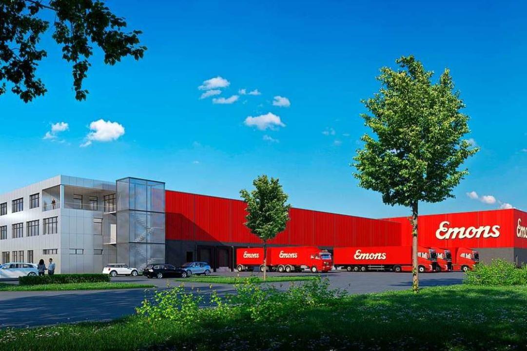 So soll der neue Standort der Speditio...ngaben 13,5 Millionen Euro investiert.  | Foto: Visualisierung: Freyler