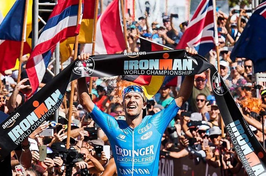 Patrick Lange bei seinem Sieg im vergangenen Jahr auf Hawaii  | Foto: Ronit Fahl (dpa)