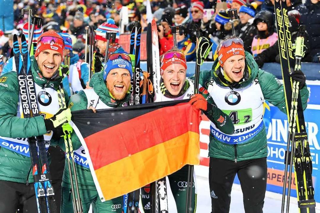 Arnd Peiffer, Erik Lesser und Benedikt...as Weltcupteam qualifizieren konnte.    | Foto: Sven Hoppe