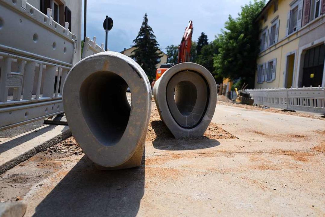 Diese Rohre wurden 2018 im Schützenwaldweg verlegt.    Foto: Jonas Hirt