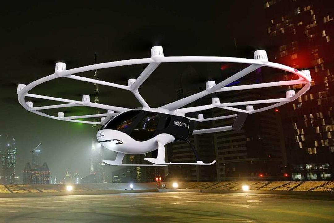 """Der Volocopter der neuesten Generation, der """"Volocity""""    Foto: bz"""