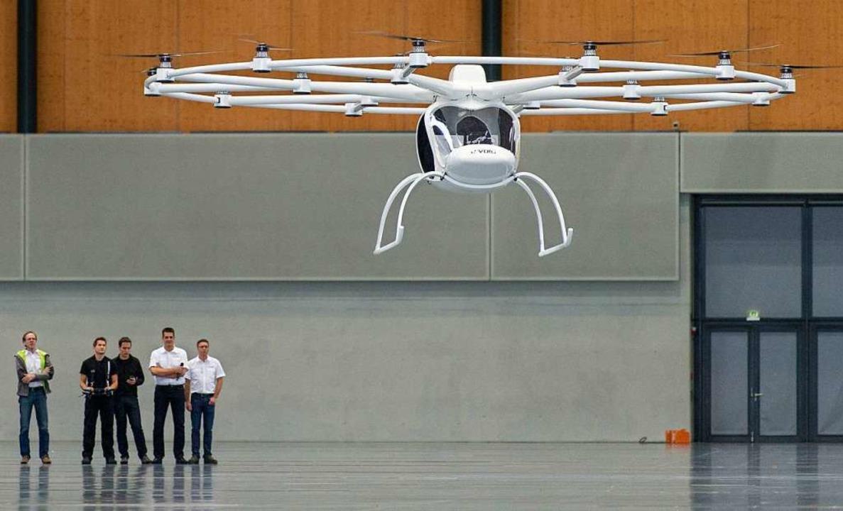 Ein Vorgängermodell 2013 bei einem Testflug in Karlsruhe    Foto: Uwe Anspach
