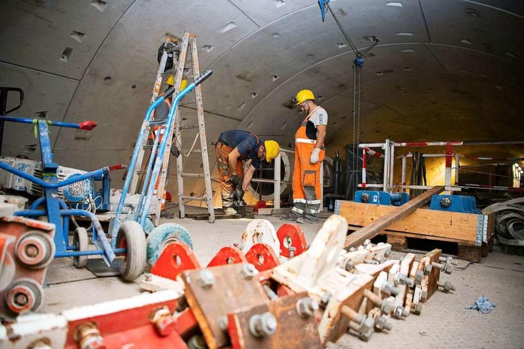 Abbau der S-21-Tunnelbohrmaschine  | Foto: Tom Weller (dpa)
