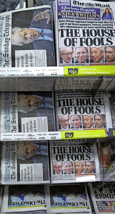 """The House of Fools"": Nach...y Mail das  Unterhaus als Narren-Haus.  | Foto: Matt Dunham (dpa)"