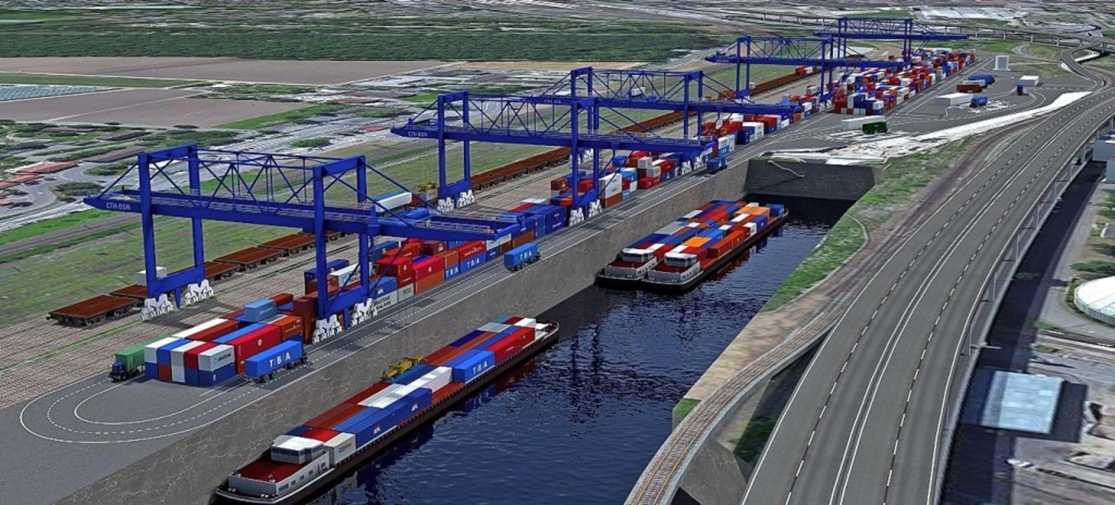 So soll die Umschlagsanlage Straße-Schiene-Wasser im Endausbau aussehen.   | Foto: ZVG