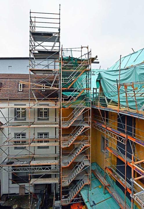 Die Baustelle ruht derzeit mehr oder w... Konzept vorliegen, wie es weitergeht.    Foto: Michael Bamberger
