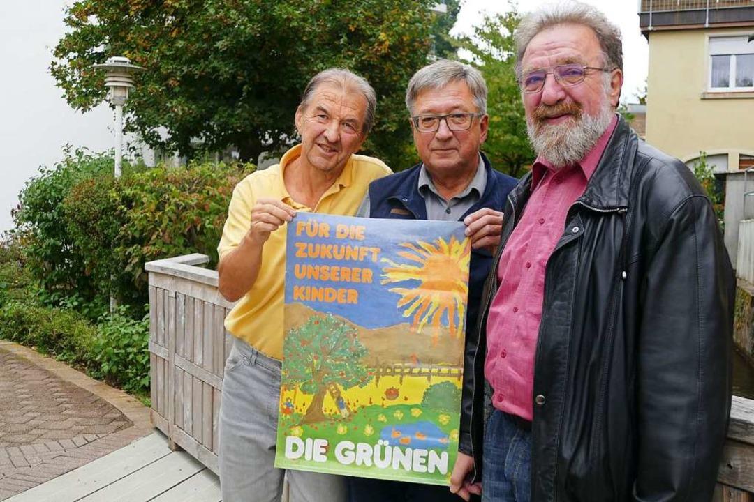 Mit ihrer  Botschaft haben die Grünen ...öttger und Michael Straub (von links).  | Foto: hönig