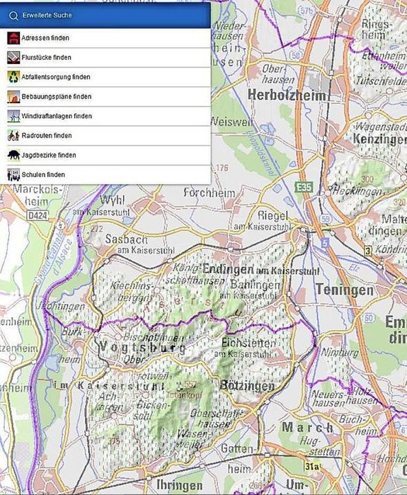 Die neue interaktive Kreiskarte (Ausschnitt).   | Foto: Landratsamt Emmendingen