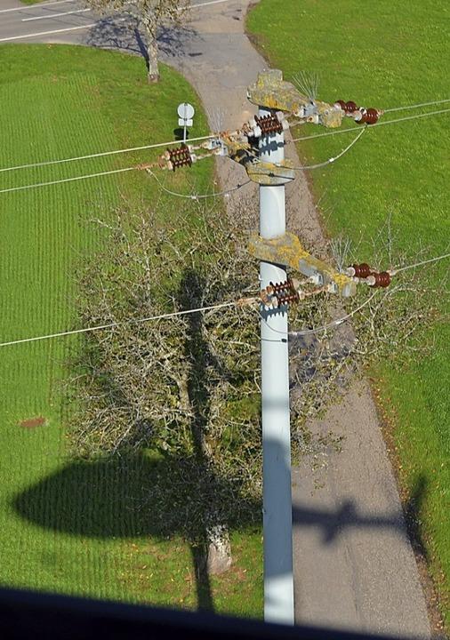 Helischatten an Strommast    Foto: Harald Rudolf