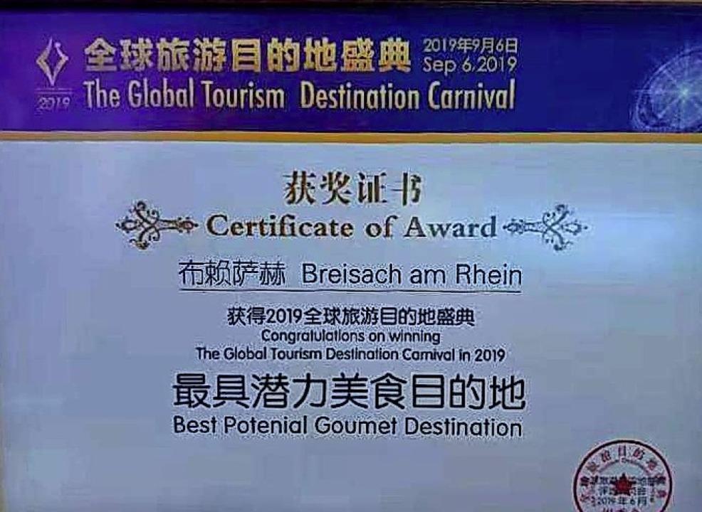 Mit einem Genuss-Preis wurde Breisach ...ner Reisemesse in China ausgezeichnet.  | Foto: privat