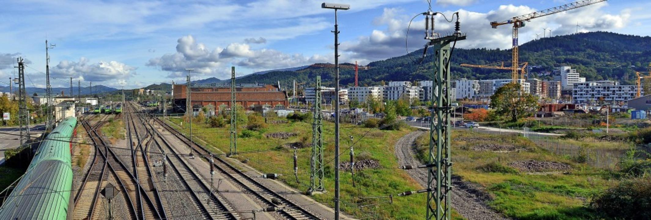 Das neue Quartier Brühl-Güterbahnhof l...n-Anschluss ist gar nicht so einfach.   | Foto: Michael Bamberger