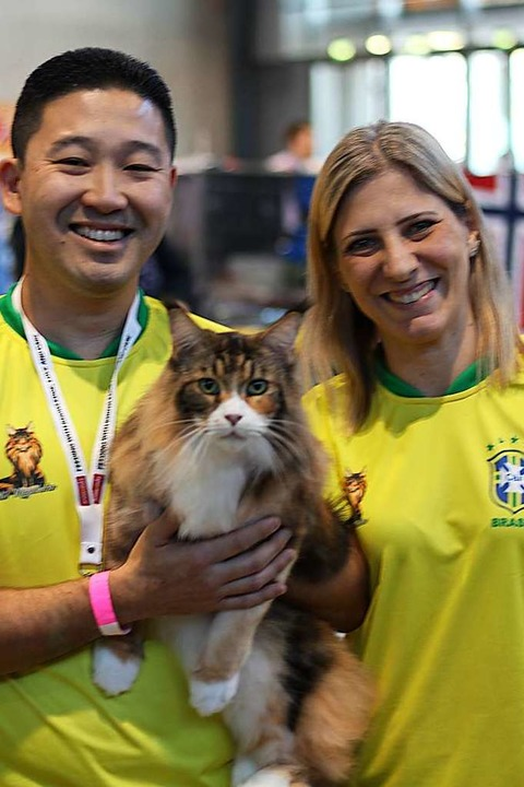 Eduardo und Paula Makita Sugahara sind... Katze Amelie aus São Paulo angereist.  | Foto: Joshua Kocher