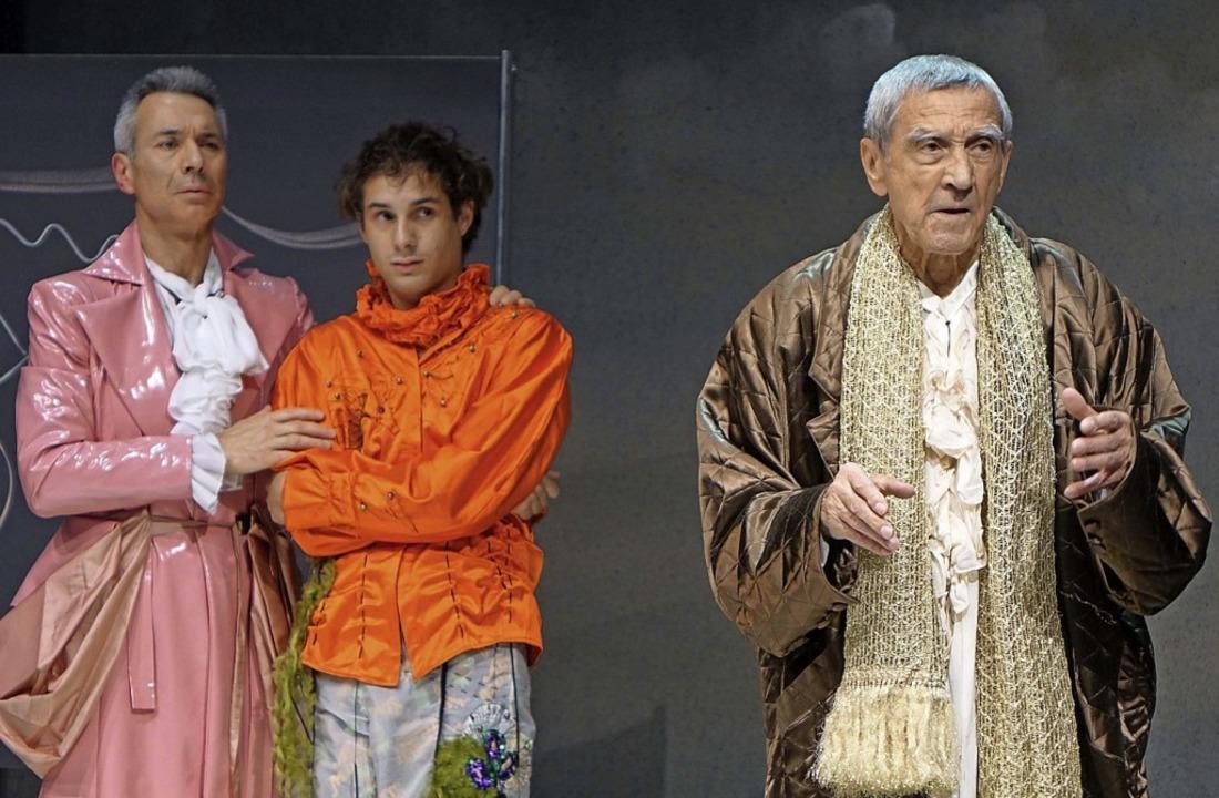Dieter Mainka als Argan (rechts) in der Molière-Komödie   | Foto: Roswitha Frey