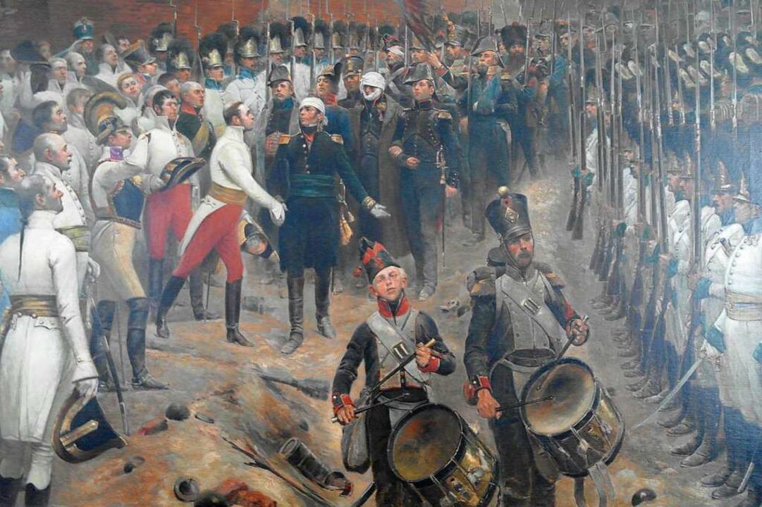 Festgehalten  von Édouard Detaille: Di...ruppen verlassen die Festung Hüningen.  | Foto: Ulrich Tromm